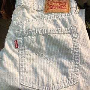 Levi's Railroad Stripe Boyfriend Jeans Blue White